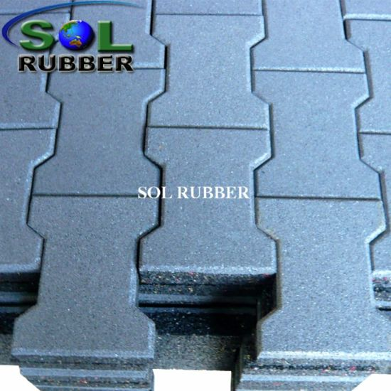 CE Certificated Solid Color Outdoor Dog Bone Rubber Tile pictures & photos