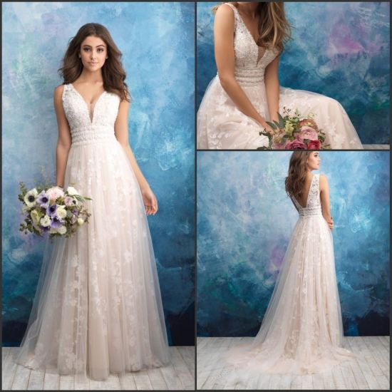 3fc6731fe9aa 2019 Lace Bridal Gowns Beaded V-Neck Empire Wedding Dress Yao98 pictures &  photos