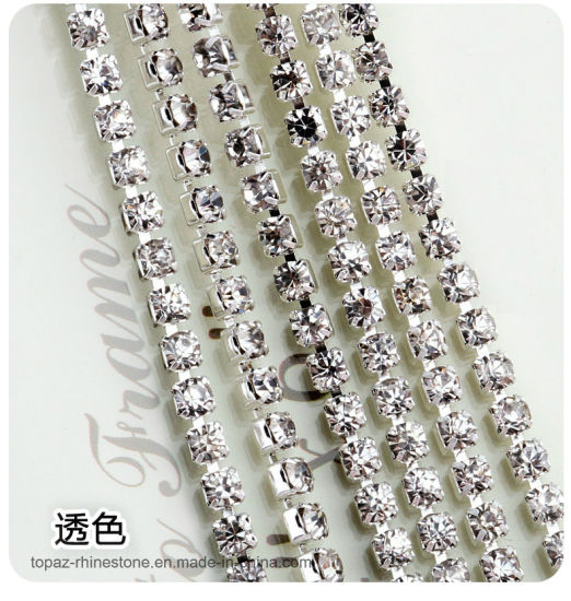 Top Quality Shinning Rhinestones Chain Trim Yard 3mm Clear Color with Silver Metal Cup Base Crystal Rhinestone Cup Chains for Dress (RC-Crystal Clear)