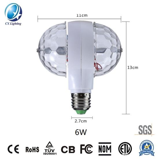 Disco Double Side Rotating Lamp LED Stage Light PS 6W 85-265V