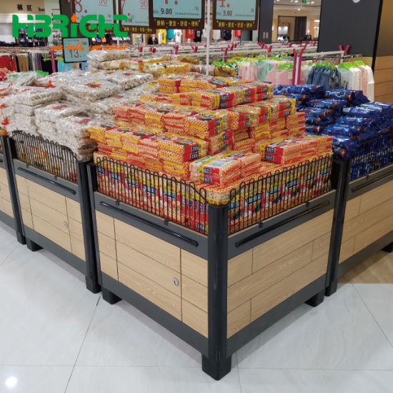 Customized Supermarket Food Display Stand Supermarket Wood Promotion Table