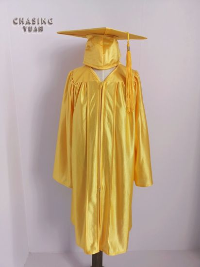 e15c50cdc53 Gold Shiny Polyester Wholesale Baby Graduation Outfits Gown Cap Tassel 2019  Charm