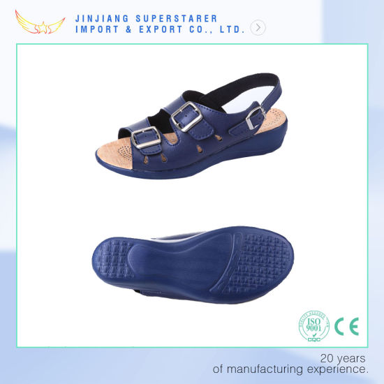 Blue EVA Women Wedge Sandal with Leather Upper pictures & photos
