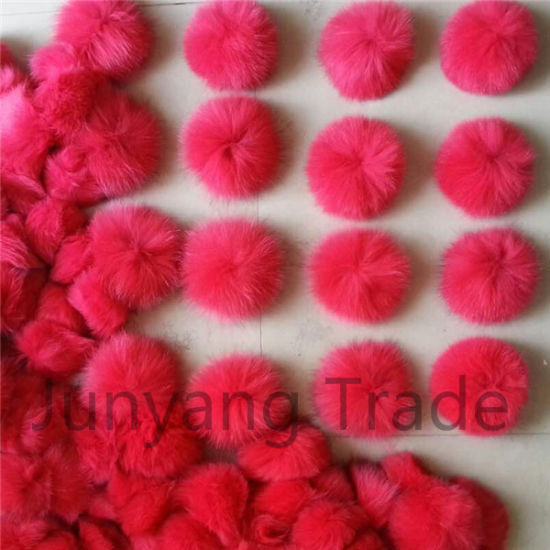 Colorful 12-13cm Fluffy Fox Fur Ball Keychain pictures & photos