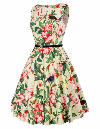 Fashion Prom Hot Sleeveless Print Birds and Trees Rockabilly Dress
