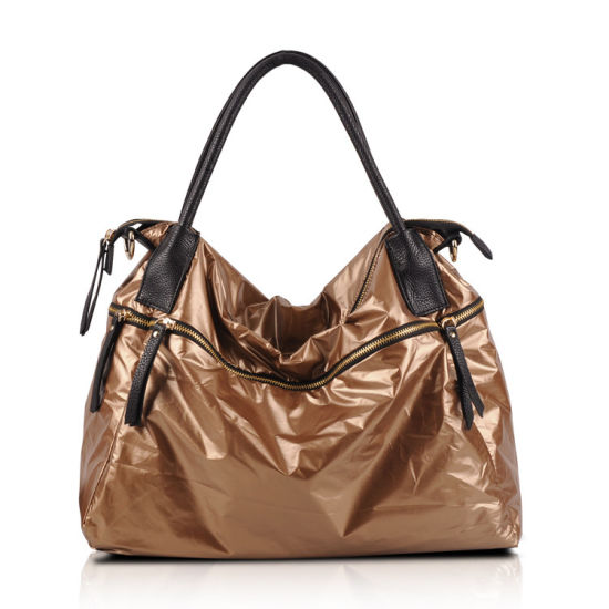 3e0cd433f China Gold Shiny Leather Handbag Hot Sale Soft Ladies Bag - China ...