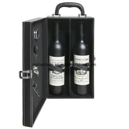 2-Bottle Modern Black Top Handle Travel Wine Carrier Box with 4 Piece Wine Accessory Set pictures & photos