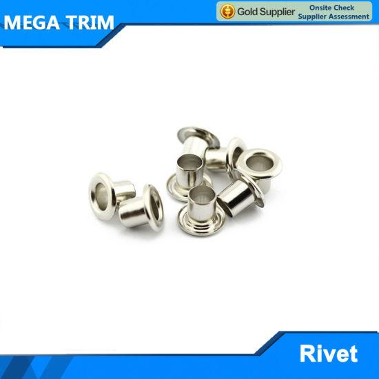 Custom Silver Flat Metal Round Eyelet for Shoe