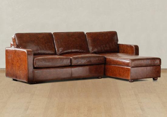 Living Room Corner Sofa Hotel Genuine Leather Yh 235