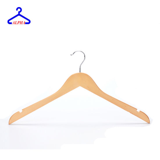 Customized Logo Timber/Wooden/Shirt/Clothes/T-Shirt/Jacket/Laundry/Garment/Hotel/Coat/Suit/Man/Motel/Wood Hanger with Notches