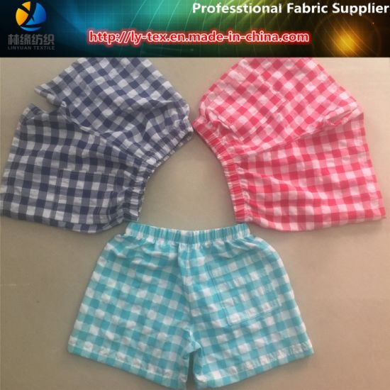 Polyester/Nylon Yarn Dyed Crinkle Check Fabric for Kid's Beachwear (YD1122-RED)