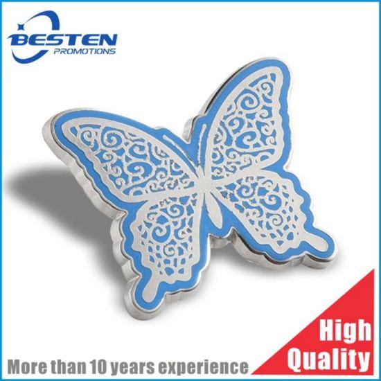 Custom Butterfly Shape Brass Imitation Hard Enamel Nickle Sport Badge