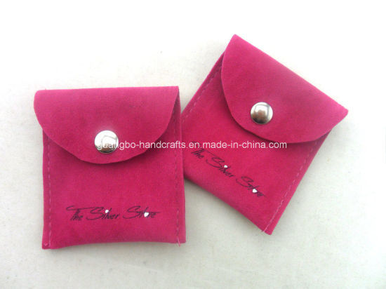 Custom Hot Pink Printing Button Velvet Pouch Bag pictures & photos