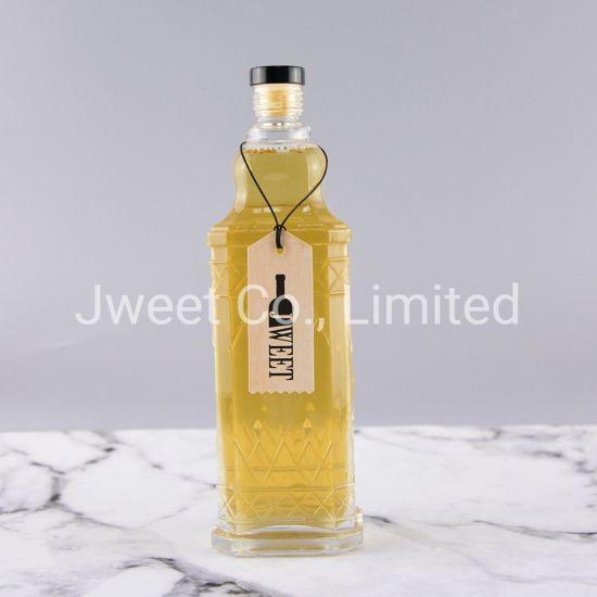 Fantastic Design Luxury Embossed Square Brandy Liquor Glass Bottle