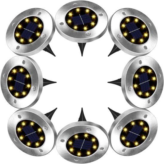 4/8 LED Solar Garden Stainless Steel Lights.