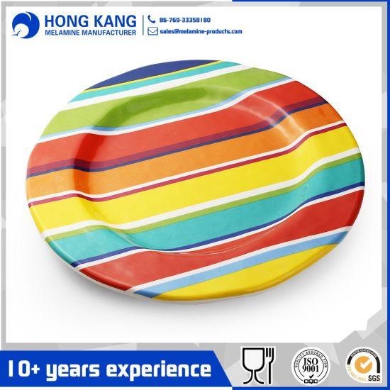 Non Disposable Multicolor Dinnerware Dinner Tableware Plastic Melamine Plate