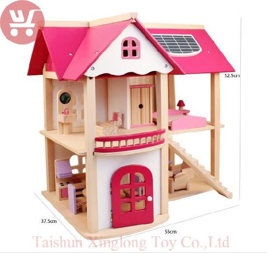 China New Design Wooden Assembly Doll S House Villa Toys Children
