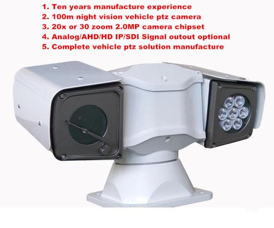 IP/SDI/Ahd/Analog CCTV Security Infrared Vehicle Mounted Car PTZ Camera
