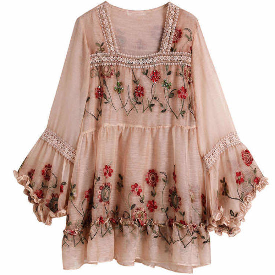 Chiffon New Loose Lace Embroidered Fashion Blouse for Women