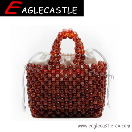 Crochet Beading Bag Party Bag Handmade Beading Bag Candy Bag Sweety Bag Pearl Bag Hand-Knit Wooden Beaded Bag Dinner Tote Clothing Accessories (CX19513)