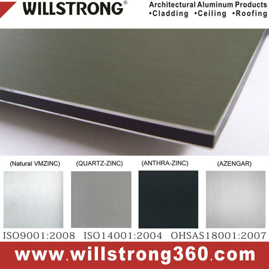 Vmzinc Zinc Composite Panel Zcp for Building Facade with Over 30 Years Warranty
