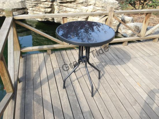 Outdoor Garden Leisure Modern Steel Glass Round Camping Table pictures & photos