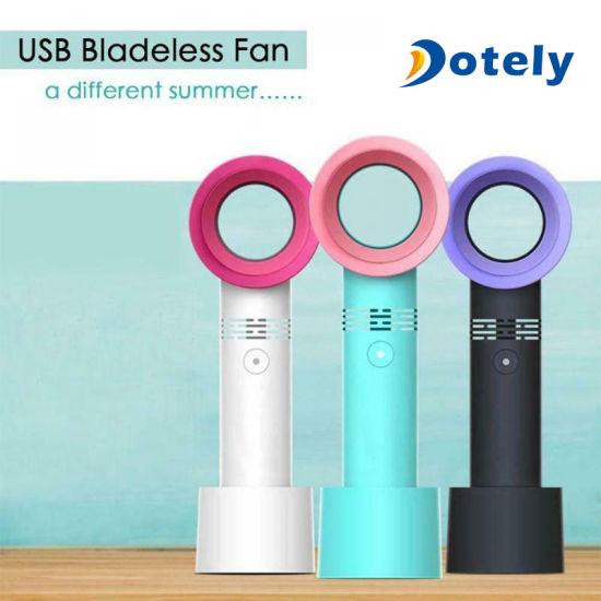 Portable Bladeless Hand Held Cooler Mini USB No Leaf Fan Desk Home Office Travel