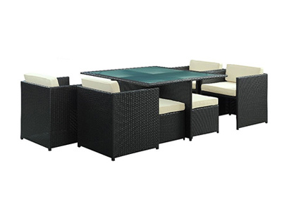 Rattan Garden Dining Table and Chair Space Saving furniture