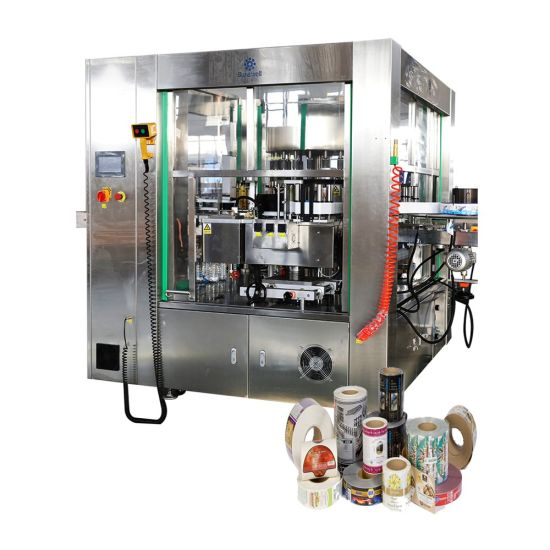 Automatic OPP BOPP Rotary Style Wrap Around Pet Glass Bottle Beverage Packaging Equipment Self-Adhesive Hot Melt Glue Sleeve Label Labeling Machine