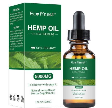 30ml 100% Natural Hemp Oil for Pain Relief Sleep Aid Anti Stress 1000/5000mg Contains Cbd Hemp Extract Drops Body Skin Care