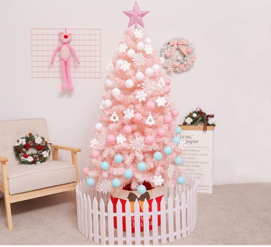 Hot Sale Artificial PVC 4-7 FT Outdoor Indoor Pink Christmas Tree with LED Lights for Decoration pictures & photos