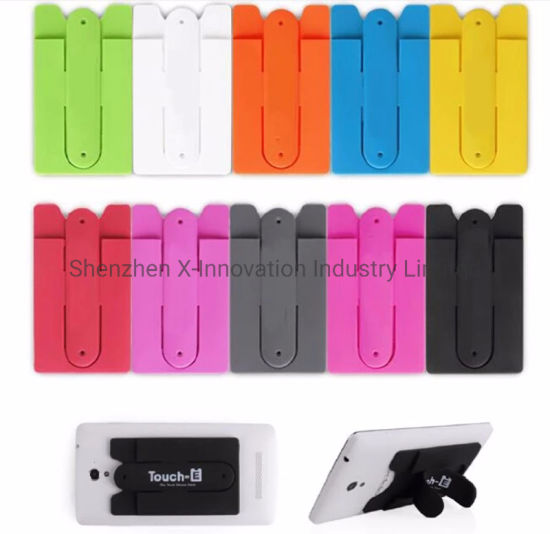 Silicone Phone Wallet Case Credit ID Card Holder Pocket Stick on 3m Adhesive Wallet with Stand pictures & photos