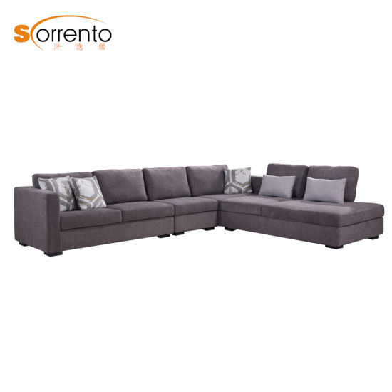 Hot-Selling L Shape / Corner Morden Fabric Upholstery Sofa 7 Seater with Function Chaise