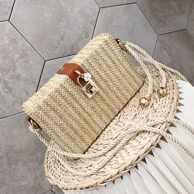 Straw Crossbody Bag Summer Shoulder Bag Travel Straw Bag Beach Handmade Semi-Circle Beach Bag for Women Esg11519