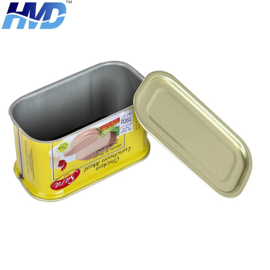 Wholesale Empty Rectangular Tin Box for Luncheon Meat in Canned