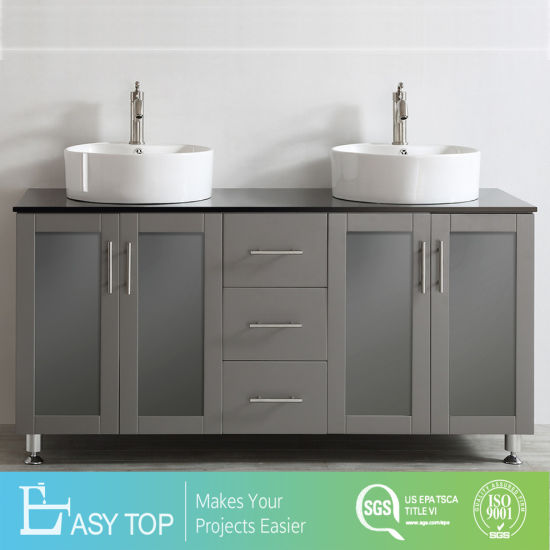 Double Vanity With White Vessel Sink
