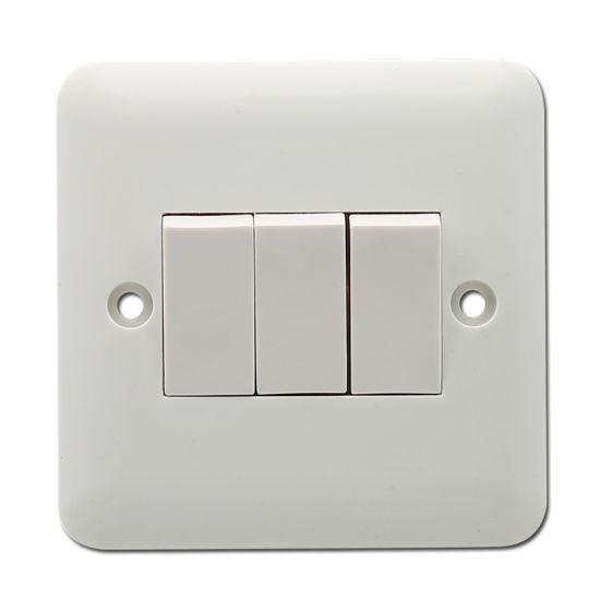 UK Standard Switch Sokcet Bakelite Plate 3gang 1way Electric Switch