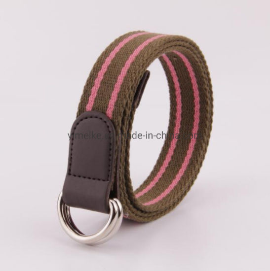 Double Loop Buckle Unisex Nice Stripes Casual Canvas Fabric Belt