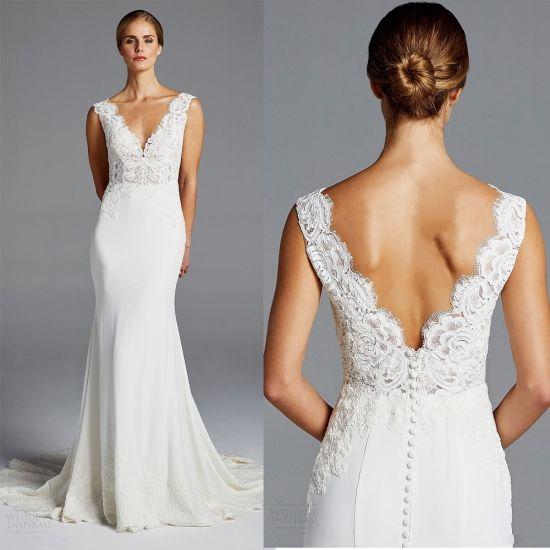 Lace Wedding Dresses Custom Spandex Satin V-Neckline Sleeves ...