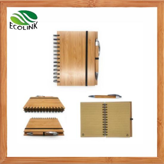 Office Supply Notepad Bamboo Cover Spiral Notebook with Bamboo Pen pictures & photos