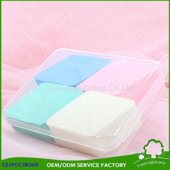 Latex Free Square Pink White Cosmetic Makeup Powder Puff Sponge