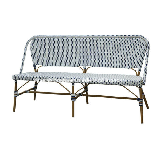 Groovy Outdoor Synthetic Rattan Furniture French Bistro Bench Chair For Cafe Short Links Chair Design For Home Short Linksinfo