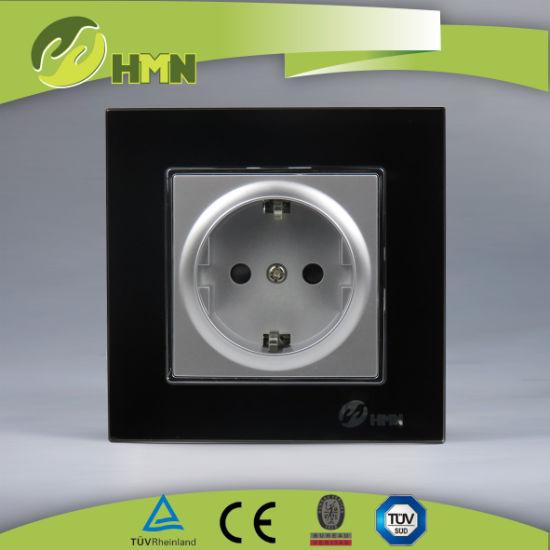 TUV Certified European Standard black Glass Schuko Socket