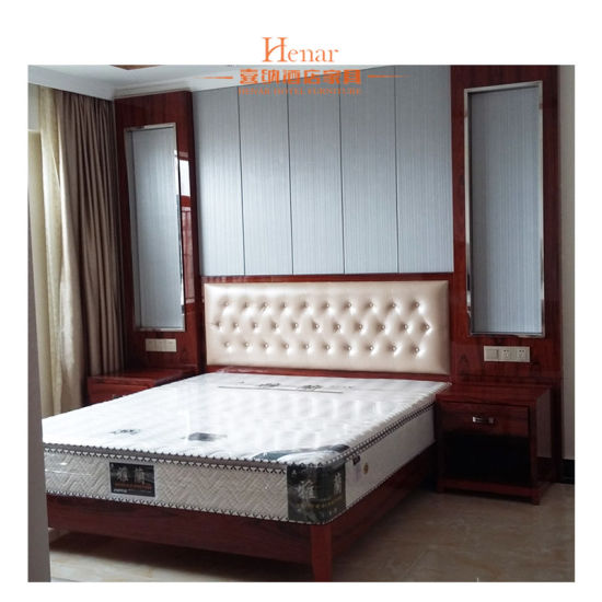 China 2018 New Custom Modern Rose Wood Finish Hotel Bedroom Sets China Bedroom Set King Size Bed