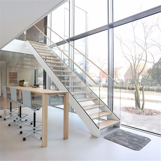 Indoor Outdoor Straight Staircase Solid Wood Steps Stairs Glass Panels Stairs Price China Straight Staircase Wood Staircase Made In China Com