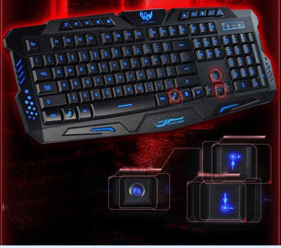 Slim Backlit Multimedia Glare USB Wired Gaming Computer Keyboard pictures & photos