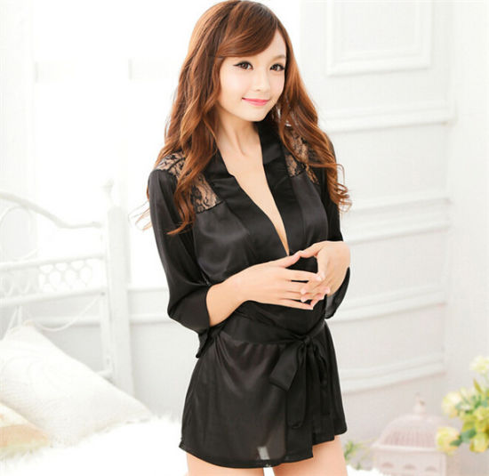 d47898218c4 Hot Sale Women Sexy Satin and Lace Kimono Robes (14199) pictures & photos