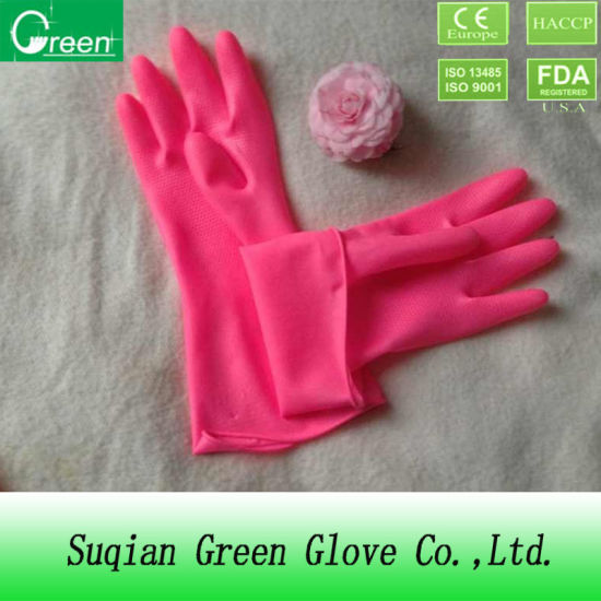 Pink Cheap Waterproof Houshold Gloves pictures & photos