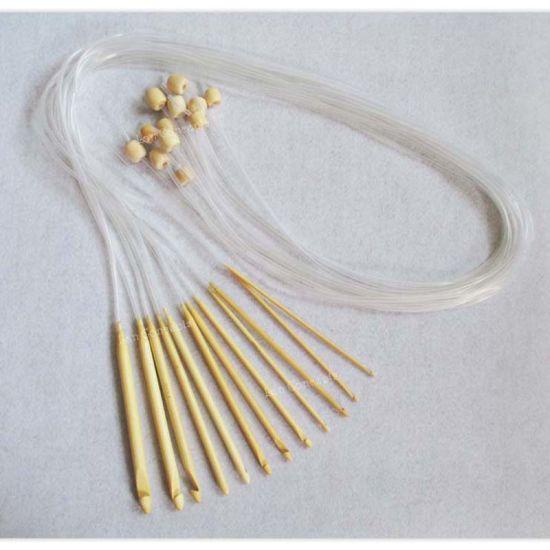 12 Sizes Afghan Bamboo Knitting Needle Crochet Hook Carpet Hooks DIY Craft  Yarn Tool