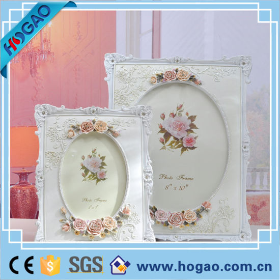 China Vintage White Rose Flower Home Decor Photo Frame Picture Resin ...